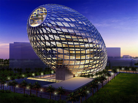 Cybertecture Egg Building in Mumbai, India.